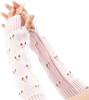 LIUFULING Women's New Cozy Wool Gloves Knit Arm Warmer Cable Knit Fingerless Gloves Mittens (Color : Pink)