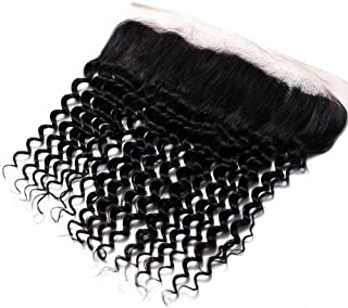 Hairpieces Hairpieces Fashian Women's Deep Wave Brazilian Hair Weave 4 * 13inch Lace Frontal Closure 100% Human Hair Extensions for Daily Use and Party (Color : Black, Size : 8 inch)