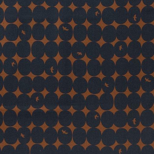 MIRABLAU DESIGN Stoffverkauf Baumwolle Canvas bedruckt mit Punkten und Vögeln in dunkelblau auf rostbraunem Grund (4-240M), 0,5m