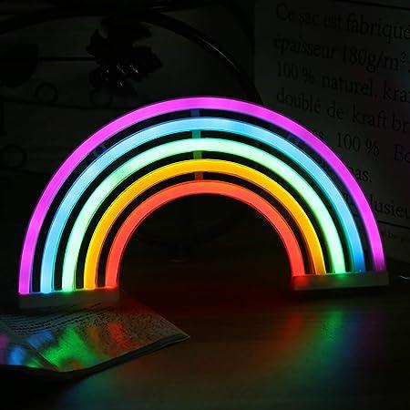 SADA72 Lampe murale néon arc-en-ciel à piles ou USB, pour décoration murale de chambre à coucher (pile)