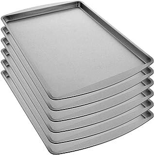 Tribello Half Cookie Sheet Pan 15 X 10 Inch Cake Pan For Baking Aluminum - Pack of 6