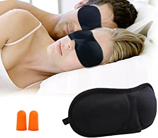 3D Sleep Eye Mask Pack of 4 with Free Ear Plugs, Black - Blindfold for Sleeping, Napping, Meditation, Travel - Comfortable, Soft Padded with Adjustable Head Strap Best Eye Shades for Men & Women