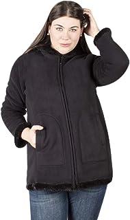 Chamarra para Mujer Plus Size Interior Peluche con Capucha y Bolsas a los Costados