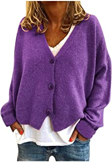 YOMXL Fashion Women Solid V-Neck Buttons Casual Stretchy Knitted Sweater Cardigan Coat