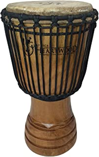 """Classic Heartwood Djembe Drum - 9""""x 18"""", Hand-carved, Solid-wood, Goat-skin, from Ghana"""