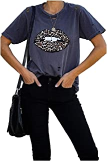 HEFASDM Womens Floral Casual T-Shirt Tee Loose Sexy Blouse Top