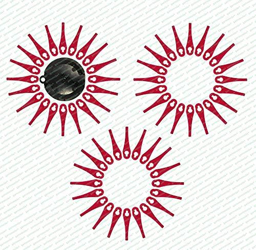 60 Ersatzmesser, Messer, Schneidplättchen, Kunststoffmesser mit Schneidscheibe, passend für Akku Rasentrimmer FRTA 20 A1 - LIDL IAN 282271