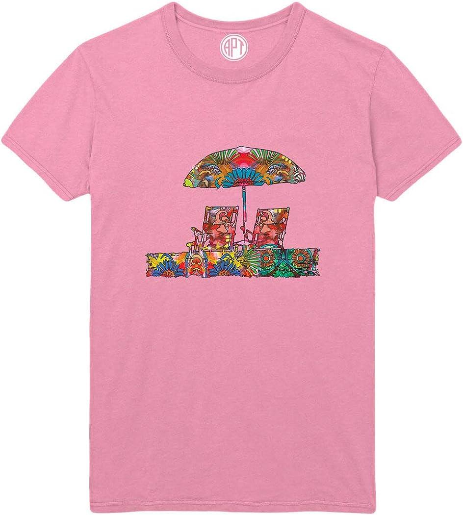 Beach Chairs Ocean View Printed T-Shirt