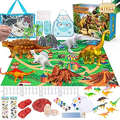 Pickwoo 47Pcs DIY Dinosaur Painting Kit for Kids, 3D Painting Dinosaurs Toys Art and Craft Set Supplies Create Dino Figures World Creative Activity Toys Christmas Birthday Gift for Boys & Girls
