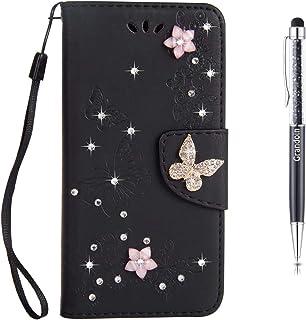 Grandoin Funda para Samsung Galaxy Note 20 Ultra 5G / 4G, PU Cuero Diamante Brillante Mariposa Case Cuerpo Completo Carcas...