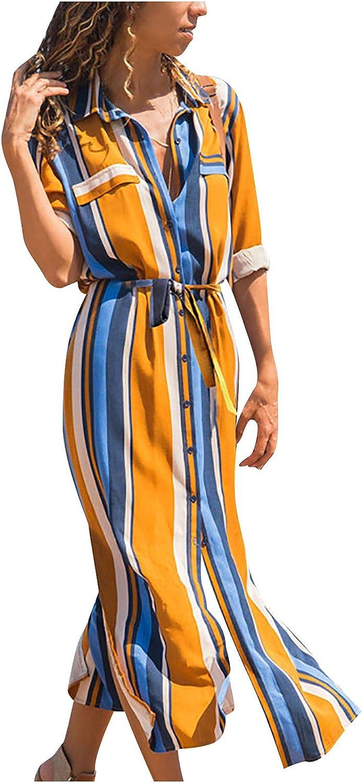 VAIFTILNO Women Casual Loose Lapel Button Down Shirt Dress Fashion Colorful Geometric Pattern Long Sleeve Chiffon Dress