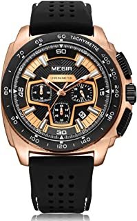 Men's Sport Analog Quartz Watch Chronograph Waterproof with Rose Gold Case Silicone Band Outdoor