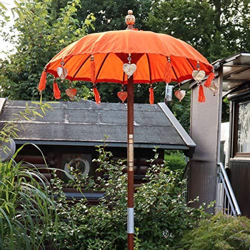 Oriental Galerie Bali Sonnenschirm Balinesischer Schirm Garten Baumwolle Sonnenschutz Handarbeit Retro Vintage Dekoschirm 2-teilig ca. 90 cm Orange