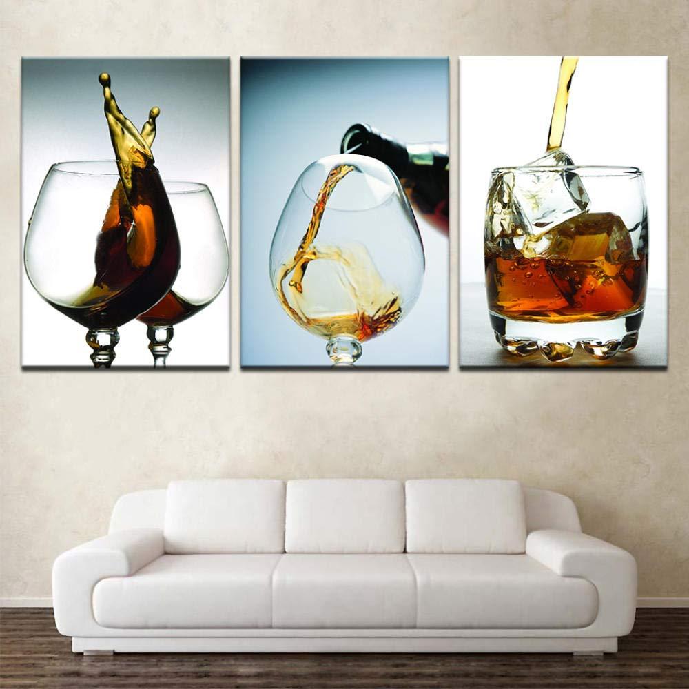 wangxiuliu Bodegón Moderno Pintura al óleo Botella de Vino Arte Lienzo Pintura 3 Paneles Carteles de Pared Pintura de Lienzo para la decoración de la Sala de Estar en el hogar-Sin marco-50cmx70cmx3: