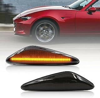 NSLUMO - Luces de marcador lateral LED para Mazda MX-5 ND 2009-2012 RX-8 de 2016 en adelante con lente ahumada, color ámba...