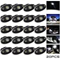 LEDMIRCY LED Rock Lights White 20PCS Kit for Off Road Truck RZR Auto Car Boat ATV SUV Waterproof High Power Neon Trail Rig Lights Shockproof/Pack of 20,White