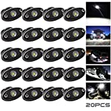 LEDMIRCY LED Rock Lights White 20PCS for Off Road Truck RZR Auto Car Boat ATV SUV Waterproof High Power Neon Trail Rig Lights Shockproof/Pack of 20,White