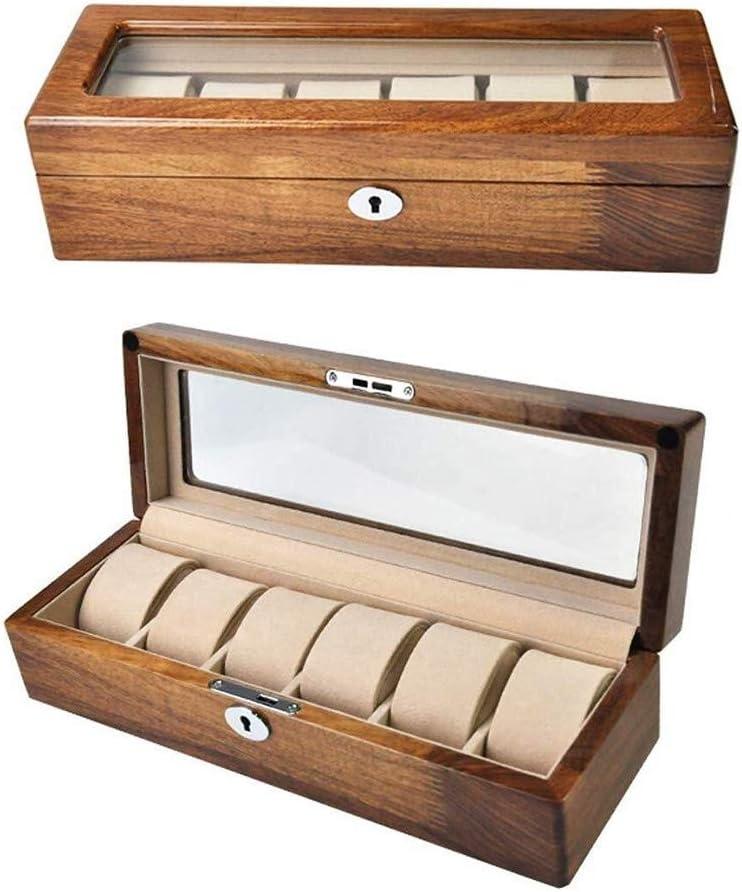 Cajas para relojes Caja De Reloj De Gama Alta De La Colección De Reloj Automático De La Caja con Compartimentos Ventana Transparente con Tapa Cojines Desprendibles del Palo