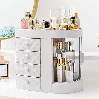 Makeup Organizer Cosmetics Storage Case Display Box Skin Care Product Holder with 4 Drawer White Large Capacity Space Savi...