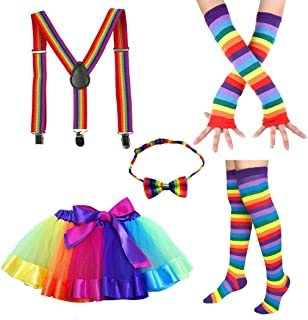 Faylapa 1970s 1980s Fancy Outfits,5 in 1 Rainbow Costume Accessories,Rainbow Tutu Skirt,Knee High Socks,Long Gloves,Bowtie,Suspenders for Cosplay Party Theme Party