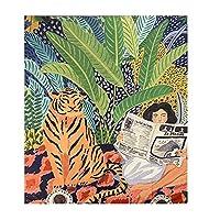 タペストリー 動物シリーズのデザイン北欧INSタペストリー背景布自由奔放に生きるの装飾壁布タペストリージャングルの虎の女の子をぶら下げ (Color : AS PICTURE, Size : 1300 MMX1500 MM)
