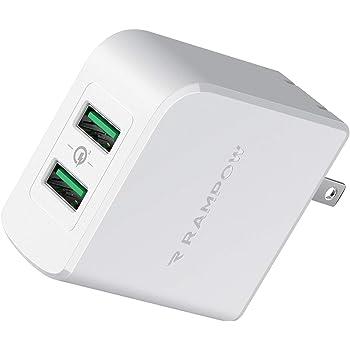 USB急速充電器 Rampow QC 2.0/3.0対応【2ポート /39W/PSE認証/保証付き】 USB コンセント ACアダプタ iPhone/iPad/Galaxy/Xperia/IQOS その他Android各種対応