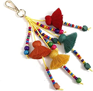 HIKEL Colorful Wooden Beads Tassel Bag Charm Pendant Keychain Ethnic Keyring Bag Accessories for Women Purse Handbag Decor