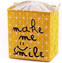 Laundry Basket Waterproof Coating Ramie Cotton Fabric Folding Laundry Hamper, Storage Basket by Sea Team (Color : Yellow, ...