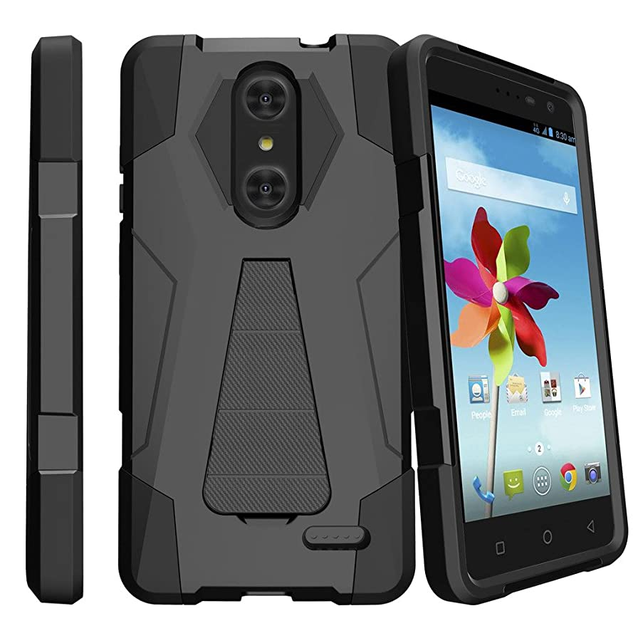 MINITURTLE Case Cover Compatible with ZTE Blade Spark Z971 & ZTE ZMAX ONE [Shock Fusion Design Case] Reinforced Kickstand Shell Case with Bumper - Black