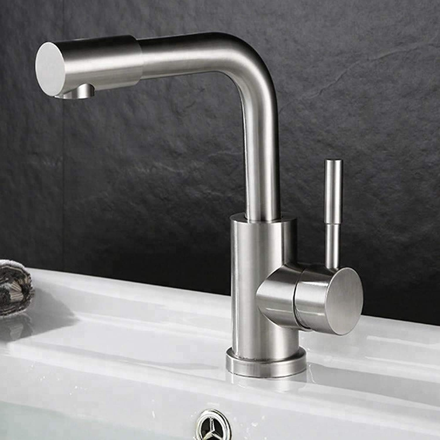 Bathroom Sink Tap Modern Style Single Handle 304 Steel Basin Faucet with Swivel Spout Bathroom Faucet