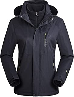 Woman Plus Size Hooded Parkas,Tsmile Outdoor Detachable Hat Removable Anorak Two-Piece Thicken Flannel Jacket Coat