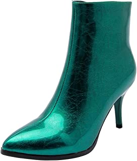 👏 Happylove 👏 Women's Pointy Toe Side Mid-Boots Ankle Zipper Slim Fashion Thin Heel Ankle Boots