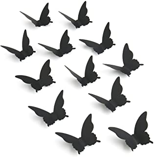 Luxbon 100p 3D Papel Negro Mariposa Pegatinas de Pared Decors