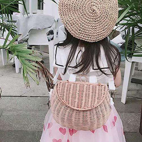 Rattan Fahrrad Ablagekorb Kinder Nette Handgemachte Rattan Spielzeug Korb Mehrzweck Wicker Stroh Picknickkorb Kinder Sommer Strand Mädchen Umhängetasche