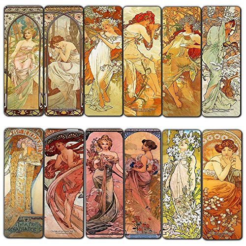 Creanoso Vintage Cards - Alphonse Mucha Art Nouveau (12-Pack) - Awesome Bookmarks for Men, Women, Teens – Six Assorted Bookmarks Designs – Unique Art Impressions Design – Cool Art Paints