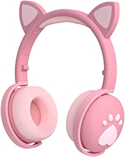 Auriculares para niños, auriculares con Bluetooth, oreja de gato, con luz LED, auriculares inalámbricos plegables sobre la...