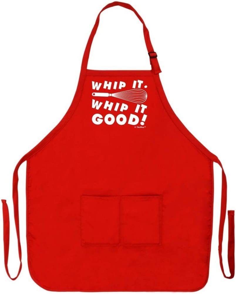 FREE USA Shipping! Funny Devo Parody Cooking Lover Apron Available in Two Colors: Black /& Natural Whisk It Whisk it Good Cream