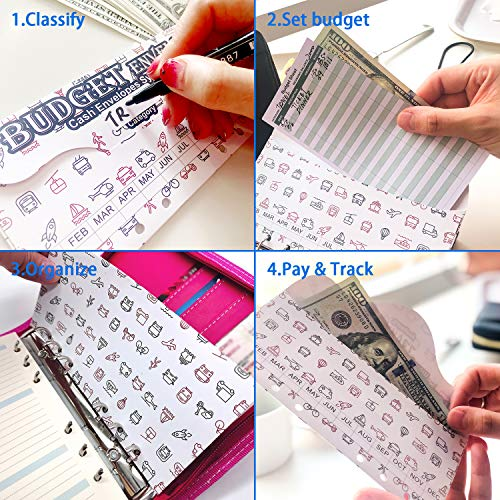 rnairni All-in-One Cash Envelopes Notebook - Finances Organizer Calendar Budget Planner Notebook with 2021 Weekly & Monthly Planner Refill & 12 Budget Envelopes & Budget Sheets (Light Pink) Photo #8