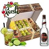 Obstbox Caipirinha Cocktail mit Limetten, Gläsern und brasilianischem PITÚ aus Zuckerrohr in klassischer Geschenkbox