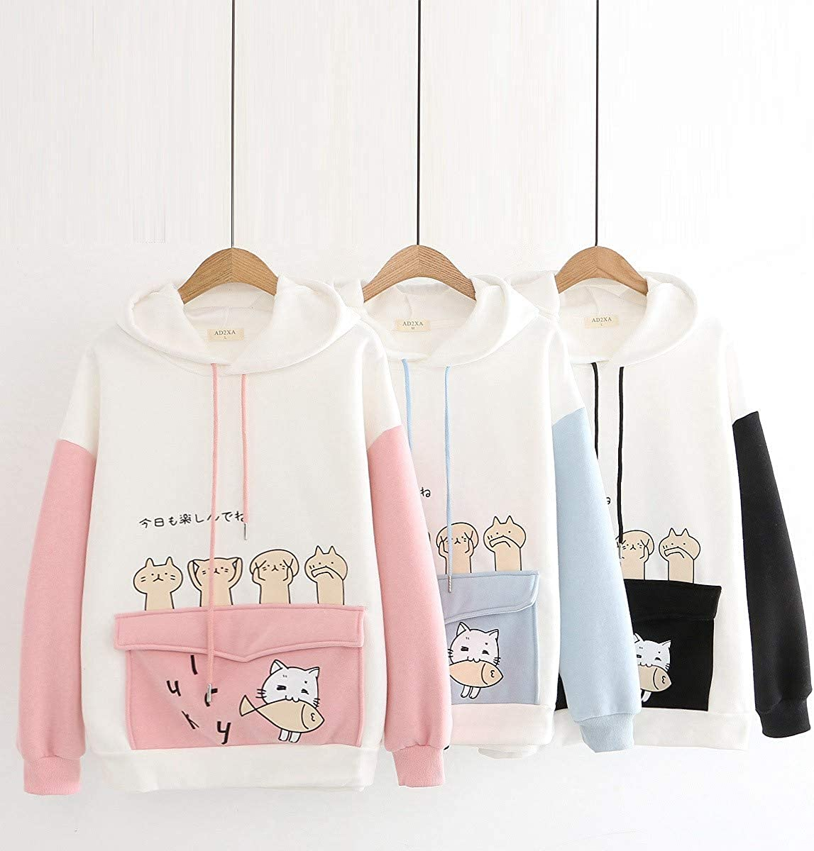 MASZONE Hoodies for Women Pullover Design Splicing Drawstring Sweatshirt Long Sleeve Hoodie Blouses Tops with Pockets