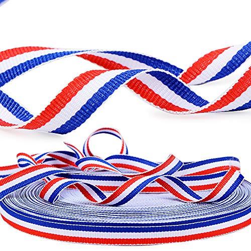 FLOFIA 50m Cinta Francesa Decorativa de Poliéster Tricolor Azul Blanco y Rojo Bobina Cinta Francia de Bandera para Fiesta Celebración Nacional Francesa Pulseras Lazos Artesanía Regalo, 10mm de Ancho