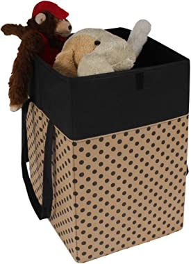 PrettyKrafts Laundry Basket for Clothes with Lid & Handles (75 Litre) - Beige with Black Dots
