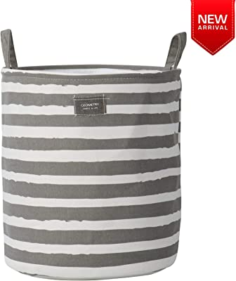 HOKIPO® Folding Laundry Basket for Clothes, Round Collapsible Storage Basket - 38 LTR, Grey Striped (AR2547)