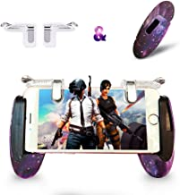 Mobile Game Controller Android Gamepad Phone Aim Controller Fight Joystick for iOS Joypad Phone Work with Phone Case (Phone Triggers and Star Game Handle, Clip)