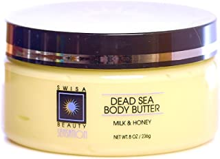 Swisa Beauty Dead Sea Body Butter Milk And Honey - Thick and Creamy Skin Softener Leaves The Skin Silky Smooth and Refreshed.
