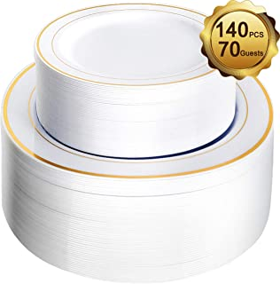M MCIRCO 140 Piece Plastic Party Plates White Gold Rim, Premium Disposable Heavy Duty Plates for Wedding, Include 70PCS 10.25 Inch Dinner Plates and 70PCS 7.5 Inch Dessert Appetizer Plates