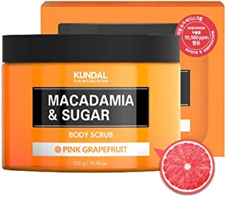 KUNDAL MACADAMIA & SUGAR Body Scrub with Shea Butter, PINK GRAPEFRUIT, 19.4 oz, Moisturizing and Exfoliating for sensitive...