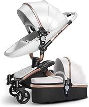 SpringBuds Baby Stroller Bassinet Carriage Combo 360 Rotation 2-in-1 Shock-Resistant High Landscape Luxury Pram Stroller for Newborn and Toddler -White