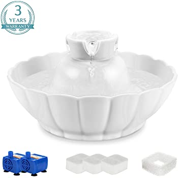 IPETTIE Tritone Ceramic Pet Drinking Fountain丨Ultra Quiet, Way Better Than Plastic丨Water Fountains for Cats and Dogs Pet Water Dispenser with Replacement Filters and Foam