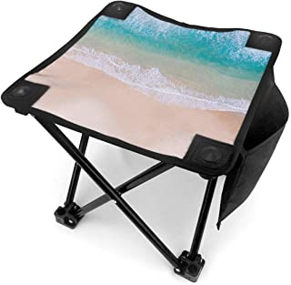 DuoWi Aerial View of Tropical Beach Mini Folding Camping Stool with Carry Bag Portable Outdoor Foldable Chair for Camp, Fishing, Beach Travel Foot Rest